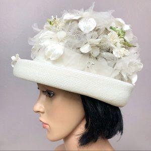 60's Vintage White Floral Appliqué Bowler Hat